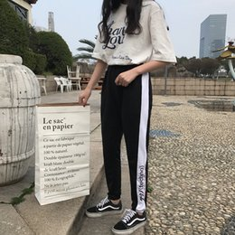 Wholesale Women Fashion Design Harem Pants - Summer Fashion Thin Chic Style Women Pants White Side Stripe Design Japanese Text Black Pants Comfortable Casual Harem Pants