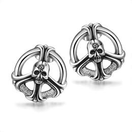 Wholesale Skull Stud Earrings Men - Classic Skull Ear Studs New Hot Skeleton Women & Men Stud Earrings Unisex Vintage Punk Styles Stainless Steel Earring Street Rock Fashion