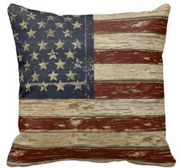 Wholesale Vintage Flag Pillow - Wholesale- New Arrival Old Glory Vintage Wood Style USA Flag M47 Patton Style Zippered Pillowcase Throw Pillow Case Twin Sides Printed