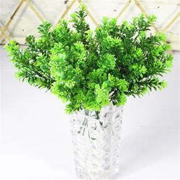 Wholesale Artificial Grass Bouquet - Wholesale- Cheap 7 branch bouquet 35 heads artificial Green plant fake milan grass bonsai decoration leaf corner lawn decoration