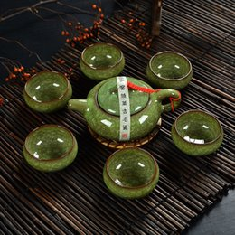Wholesale Ice crack glaze Chinese Traditional Tea Set Teapot With Teacup Elegant Design Tea Sets Service Tetera Chaleira Bule T001A