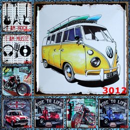 Wholesale Motorcycle Car License Plate - Bus Car 30X30 CM Metal Tin Signs Motorcycle Music License Plate Iron Paintings Ride To Life Tin Poster New Style 9 99rjO