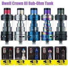 Wholesale Triple Crown - Top Quality Uwell Crown III V3 Sub Ohm Tank 5ml Fill Design with Twist Off Cap Triple Airflow Slots Quartz vape Tanks e cigarette Atomizer