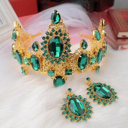 Wholesale Large Tiara Crown - Hair Jewelry Prom Luxury Hair Jewelry Baroque Large Red Green Rhinestone Crystal Bridal Tiara Wedding Queen Crown Diadem