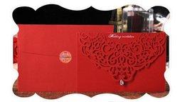 customize birthday invitation UK - Professional design Korean creative wedding invitation Upscale atmosphere diamond inlaid wedding invitation cards customized card low price