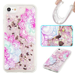 Wholesale flow iphone - Flower Fashion Design Sparkle Bling Flowing Floating Phone Cases Liquid Case for iPhone 7 7Plus 6 6S Samsung Galaxy S7 S7Edge S6 S6Edge