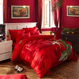 Wholesale Big Rose Bedding - red Rose big flower 3d print wedding bedding sets Queen Double King size bedclothes 100% Cotton duvet cover set romantic gift