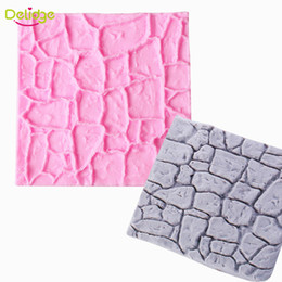 Wholesale mold stones - Delidge 20 pc Dry Wall Cake Mold Silicone Non-Stick Castle Stone Bark Cake Fondant Molds DIY Cupcake Chocolate Decoration Mould