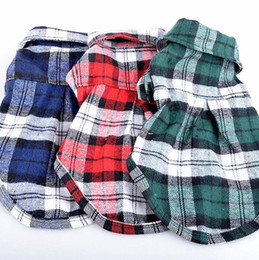 Wholesale Chihuahua Clothes Cheap - Summer Dog Plaid Shirts Cheap Pet Clothes Puppy Shirts Clothing Chihuahua Dog Supplies Product Free Shipping
