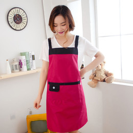 Wholesale Restaurant Button - Fast Shipping Korean Aprons Women Aprons With Pockets and button Restaurant Baking Home Cleaning Tool Accessories