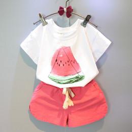 Wholesale Korean Children Clothing Brands - korean children summer clothes cotton sets baby girl watermelon print t-shirt with matching shorts 2pcs sets
