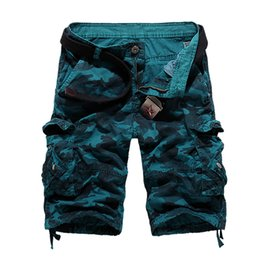 Wholesale Combat Cargo Shorts - Wholesale- New Men's Casual Shorts Army Cargo Combat Camo Thin multi Pocket Loose Jeans Camouflage Overall Shorts men 100% cotton k56