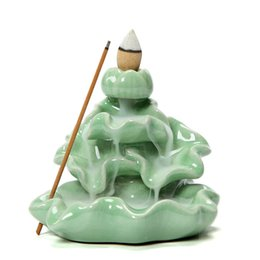 Wholesale Ceramic Burner Wholesale - Wholesale Ice Crack Backflow Incense Burner Home Decor Ceramic Incense Stick Holder Censer for Living Room Office Teahouse
