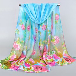 Wholesale Voile Purple - High Quality Bohemian Beach Voile Soft Long Scarf Women Flower Printed Wrap Shawl Scarves Hot Sale
