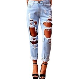 Wholesale Trouser Styles For Skinny Women - Wholesale- New Fashion Hole Ripped Jeans Woman Skinny Denim Jeans Femme Slim Ripped Pencil Pants Washed Boyfriend Jeans For Women Trousers