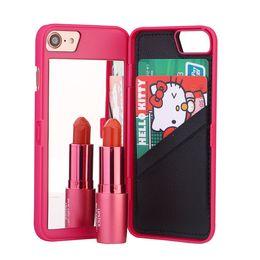 Teléfono secreto online-Lujo Secret Mirror Wallet Phone Case Multi Function Holder de la ranura para tarjeta PC Wallet Pouch Case Girls Cosmetic Mirror Cover para iphone 6 7 plus