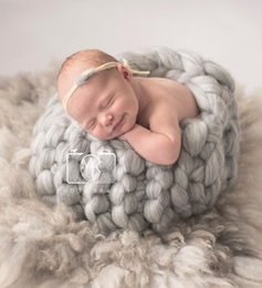 Wholesale Crochet Baby Basket - Hand knitting Peach Wool Basket Newborn Baby Posing Photography Prop