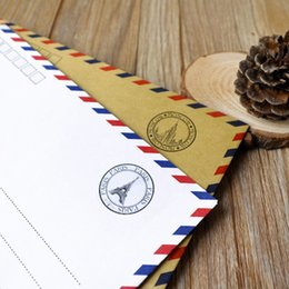 Wholesale Airmail Postcard - Wholesale- 16pcs lot Hot Sale Creative Large Vintage Envelope Postcard Letter Stationery Paper AirMail Office Supplies Kraft Envelope WZ