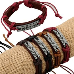 Wholesale Mens Gold Box Bracelet - Retro Stainless Steel Chain Mens Bracelet Punk Genuine Leather Bracelet for Men Street Jewelry Bracelet Charm Bracelets Adjustable