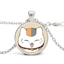 Wholesale Cat Face Necklace - Cat Pendant Necklaces Glass Cabochon Natsume Janpanese Cartoon Face Expression Handmade Jewelry Children Gifts Wholesale New Arrival