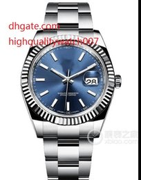 Wholesale Winding Movement - hot Luxury Men's High Qualit 41mm 126334 Stainless Steel Silver Bezel Sapphire Glass Blue dial Automatic Men's Movement Wristwatches