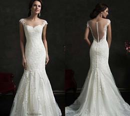 Wholesale Transparent Bodice Wedding Dress - 2016 Amelia Sposa Lace Mermaid Wedding Dresses Cap Sleeves Crew Sheer Neck Transparent Button Back Appliques Bridal Gowns 2017 Dress