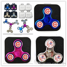 Wholesale Cubs Team - Tri-spinner Fidget Spinner CUBS NY Logo 2 Sides Baseball Team New York Yankess Chrome Hand Spinner Metal Finger Toys PVC Box Free Send 5-50
