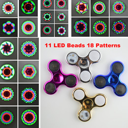 Wholesale Electroplated Beads - LED Light Fidget Spinner 11 LED Beads 18 Patterns Switch Chrome Hand Spinner Electroplate Tri-Spinner Toys Battery Replacement Free Send