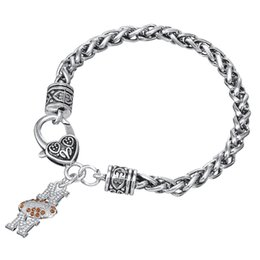 Wholesale European Football Charms - European & American Football mom Clear rhinestone Sliver Color charm Thick Wheat Chain sports gifts Lobster clow clasps Bracelet