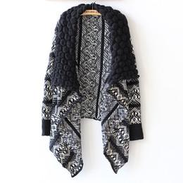 Wholesale Women Winter Coat Manufacturers - Wholesale-Cardigan Women Winter 9016# Manufacturers Selling New European Style Large Irregular Shawl Lapel Cardigan Sweater Coat Girl 0904