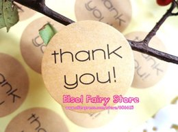Wholesale Cake Circles Wholesale - Wholesale Lovely Seal Label Sticker Thank You Circle Point Kraft Sticker For Party Favor Bag Candy Box(600pcs) Free shipping