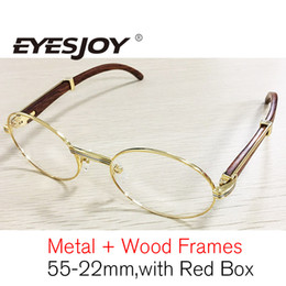 Wholesale Wooden Metal Frame Glasses - Metal wood frame glasses With Red Case & Box and Accessories Brand Designer Fashion Gold Frames Eyeglasses Men Women Brown Lens