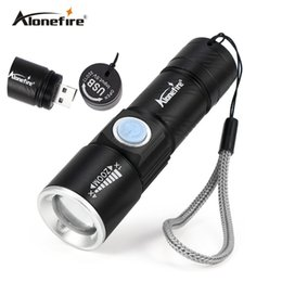 Wholesale rechargeable flashlights - AoneFire X200 3Mode Tactical Flash Light Torch Mini Zoom Rechargeable Powerful USB LED Flashlight AC Lanterna For Outdoor Travel