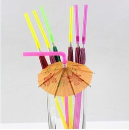 Wholesale Cocktail Parasol Pick - Plastic Drinking Straws Cocktail Parasols Umbrellas Drinks Picks Wedding Party Supplies Holidays Luau Sticks KTV Bar Cocktail Decoration 540
