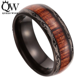 Wholesale Wood Inlay Rings - Queenwish 8mm Black Slivering Tungsten carbide Ring Koa Wood Inlay Dome Matching Wedding Bands Anniversary Men's jewelry