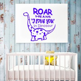 Wholesale American Meaning - Roar Means I Love You Cartoon Wall Stickers for Chlidren PVC Cute Dinosaur Art Mural Wall Decal for Kid's Room and Nursery Decoration
