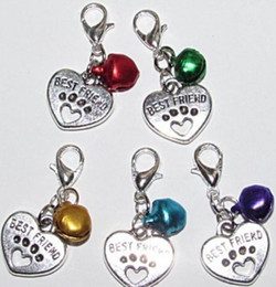 Wholesale Jewelry Silver Pendant Clip - Vintage Silvers Mixed BELL Best Friend Paw Prints Clip Charms Pendant For Jewelry Making Findings Bracelets Crafts Hot S602