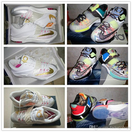 Wholesale Pearl Cotton 12 - 2017 New Kevin Durant 7 VII Aunt Pearl Basketball Sports Shoes Men High Quality KD 7 Athletic Shoes KD7 Sneakers Size 7-12