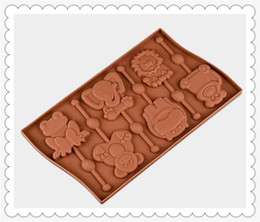 Wholesale Molds For Candy - 6 holes animals Lollipop Mold Flexible Silicone Soap Mold For Handmade Soap Candle Candy bakeware baking moulds kitchen tools ice molds
