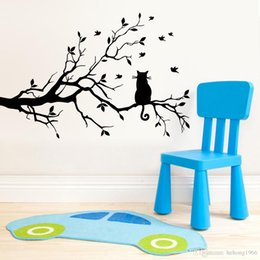 Wholesale Branches Stickers - Wall Sticker Stylish Simple Black Tree Branch Decal Eco Friendly PVC Water Proof Living Room Backdrop Wallpaper Home Decor 7xm F R