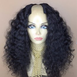 Wholesale Bank Wave - 9A U Part Wigs For Black Women Water Wave 2*4 Middle Opening Brazilian Virgin Upart Human Hair Wigs