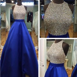 Wholesale Gold Crystal Evening Gown Uk - Sexy Halter Beaded Crystal Prom Dresses Royal Blue Evening Dress Backless Long Prom Dress Pageant Semi Formal Gowns 2017 High Quality USA UK