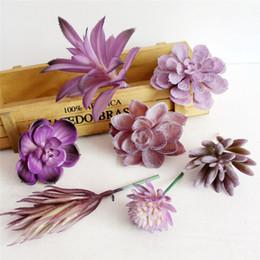 Wholesale Wedding Decorations Ornaments - Wholesale- Simulation Lotus Lithops Artificial flowers ornaments Purple Artificial Succulents Plants garden decoration DIY Accessories E5