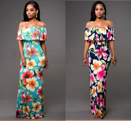 Wholesale Cheap Holiday Maxi Dresses - 2017 Cheap Summer Beach Maxi Floral Printed Dresses Women Long Dresses Off the Shoulder Beach Dresses Sheath Bodycon Floor-Length Holiday