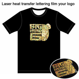 Wholesale Heat Transfers T Shirts Wholesale - Custom T-shirt Free Laser heat transfer lettering film T-shirt LOGO Unisex 3D Material heat print Vinyl T Shirts Adult Summer Clothes