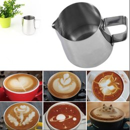 Wholesale Metal Garland - Stainless Steel Frothing Pitcher Pull Flower Cup 350ML 600ML Garland Cup Mug Milk Coffee Cappuccino Cooking Tools OOA2352