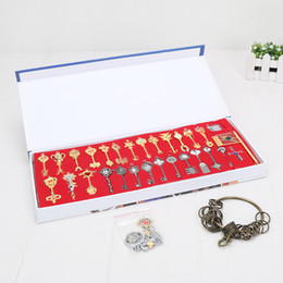 Wholesale Cosplay Tattoo - 29pcs set 4-11cm Fairy tail key Lucy Cosplay Keychain Scale & Free Pink Tattoo Heartfilia Sign of the Zodiac Gold Key Pendants