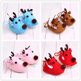 Wholesale Toddler Pink Christmas Shoes - Christmas Shoes Babies Crochet Shoes Babies Autumn Winter Warm Shoes Cartoon Newborn Shoes Babies Toddler Shoes 4 Color LA312