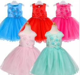 Wholesale Dance Evening - Flower TUTU Dresses Princess Girls Lace Tulle Wedding Dress Infant Princess Evening Elegant Dresses Baby Dress Party Dance Custumes J444
