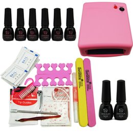 Wholesale Cuticle Oil Top Coat - Wholesale- Nail Art Kit Manicure Set Nail Gel Set 6 Colors UV Gel Nail Polish Varnish Base Gel Top Coat 36W UV Lamp For Nails Cuticle Oil